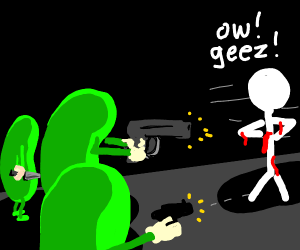 Three pickles shooting a stickman