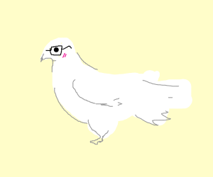 Nerd dove blushing with glasses