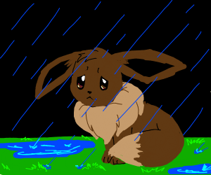 Eevee in the rain
