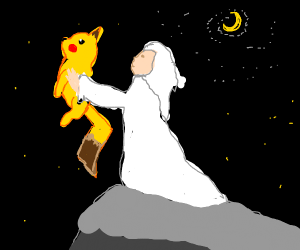 Pikachu and woman in whites