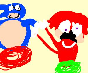 Knuckles running from Sonic Y R U RUNIN