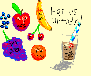 Angry fruit and angry chocolate milk