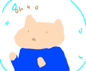 Cat Wearing Blue Shirt Trapped in a Bubble