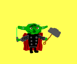 Yoda dressed up as Thor