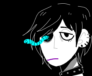 Goth chick with a blue eye worm