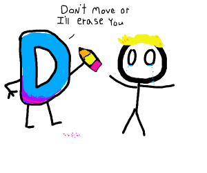 Drawception D Threatening a blonde stickman