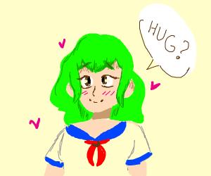 green haired anime girl wants a hug