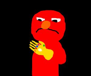 Elmo with the infinity gauntlet