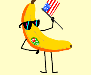 Banana holding the American flag