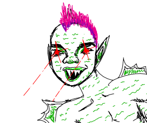 Ferocious pink hair person with spiky teeth