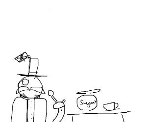 british man eats a spoon or sugar