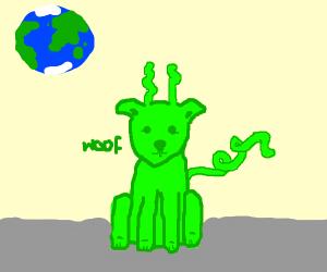 Green alien dog