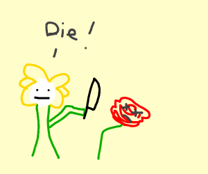 Flowey attacking a rose saying die