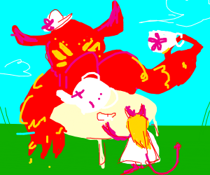 demon at a tea party with his daughter