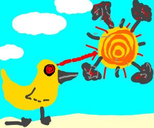 Broken duck with laser eye blowing up sun