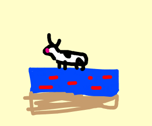a cow swimming in a blue minecraft cake