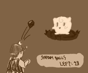 Throwing rock at Jigglypuff in Safari Zone
