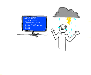 guy crying a storm because of windows error