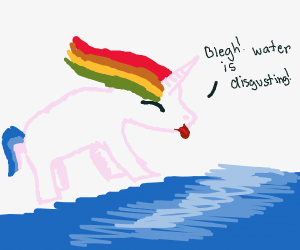 Unicorn finds the water disgusting
