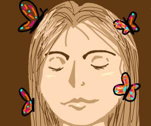 Butterflies in a girls hair