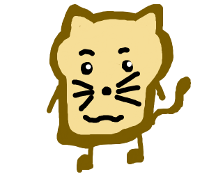 Sad Bread with cat face