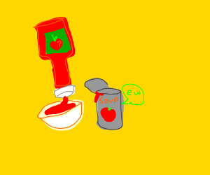 Squeezing ketchup into tomato soup
