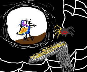 curious bird about to enter cave of doom