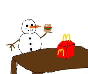 adorable snow monster munching on Mickey D's