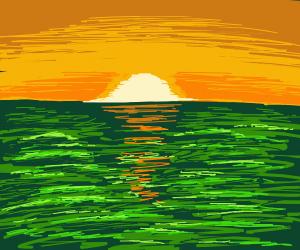 Sunset on a Green Ocean World