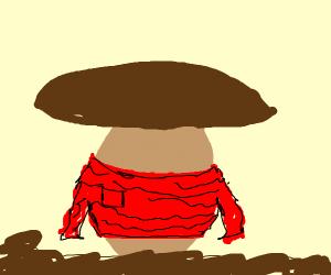 Mushroom wearing a Coat