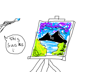 self-depricating artist