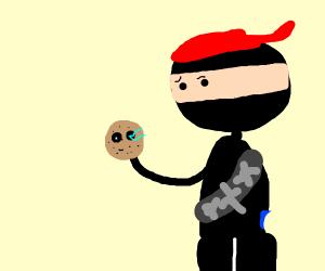 A ninja grabbing a stinky potato skull