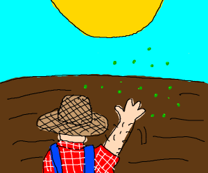 Farmer scatters seeds in the sun