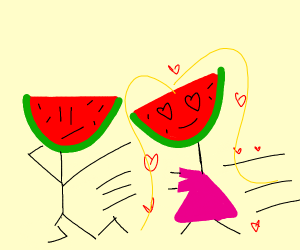 Watermelon man ignores watermelon lady