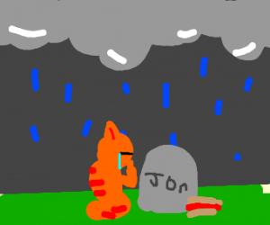 Garfield mourns over Jon's death