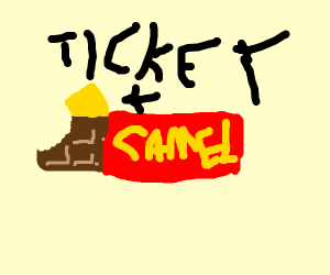 Camel playing with a Ticket