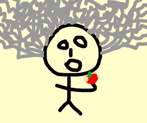 Einstein eating an apple