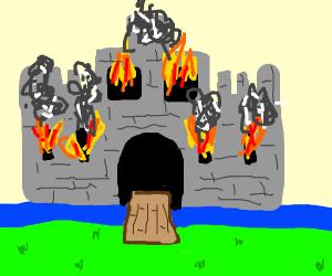 a castle is on fire!