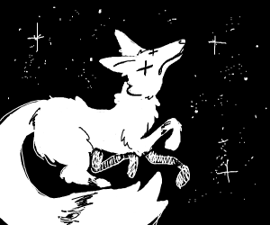 a dead fox silhouette in space