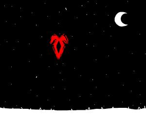 mysterious rune in night sky