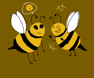 two bees hanging out