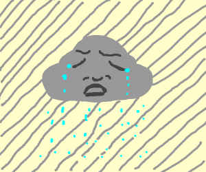 cloud face is very sad and crying