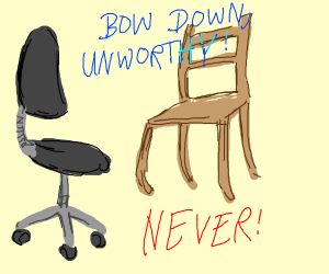 wood and rolling chairs fight for dominance