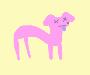 dead neon colored cat/dog/some animal?