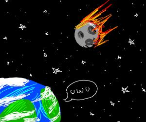 Rocketing Moon flies towards Earth OnO