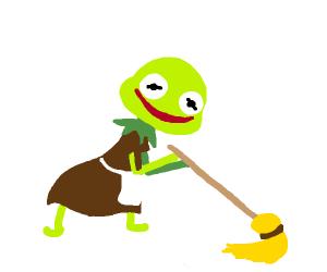 Kermit sweeps (wearing brown dress w/ apron)