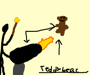 A teddy bear is shot out of a cannon