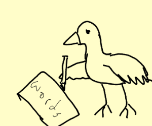 a bird writing words on a piece of paper