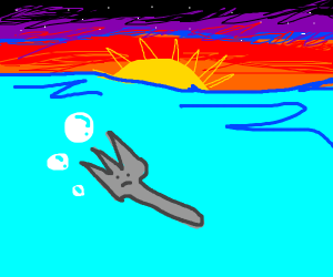fork in water