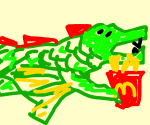 dragon holding mcdonalds fries